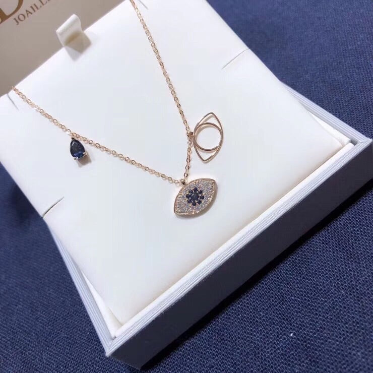 18 k gold evil eye pendant necklace - Xingjewelry
