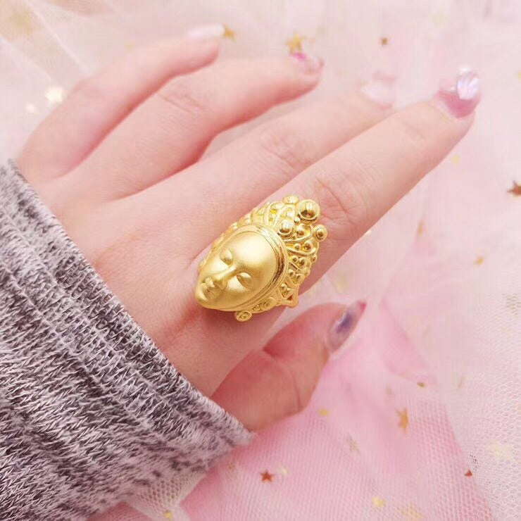 Solid gold Buddha head ring