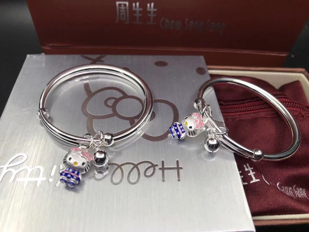 925 sterling silver hello kitty push bangle bracelet - Xingjewelry