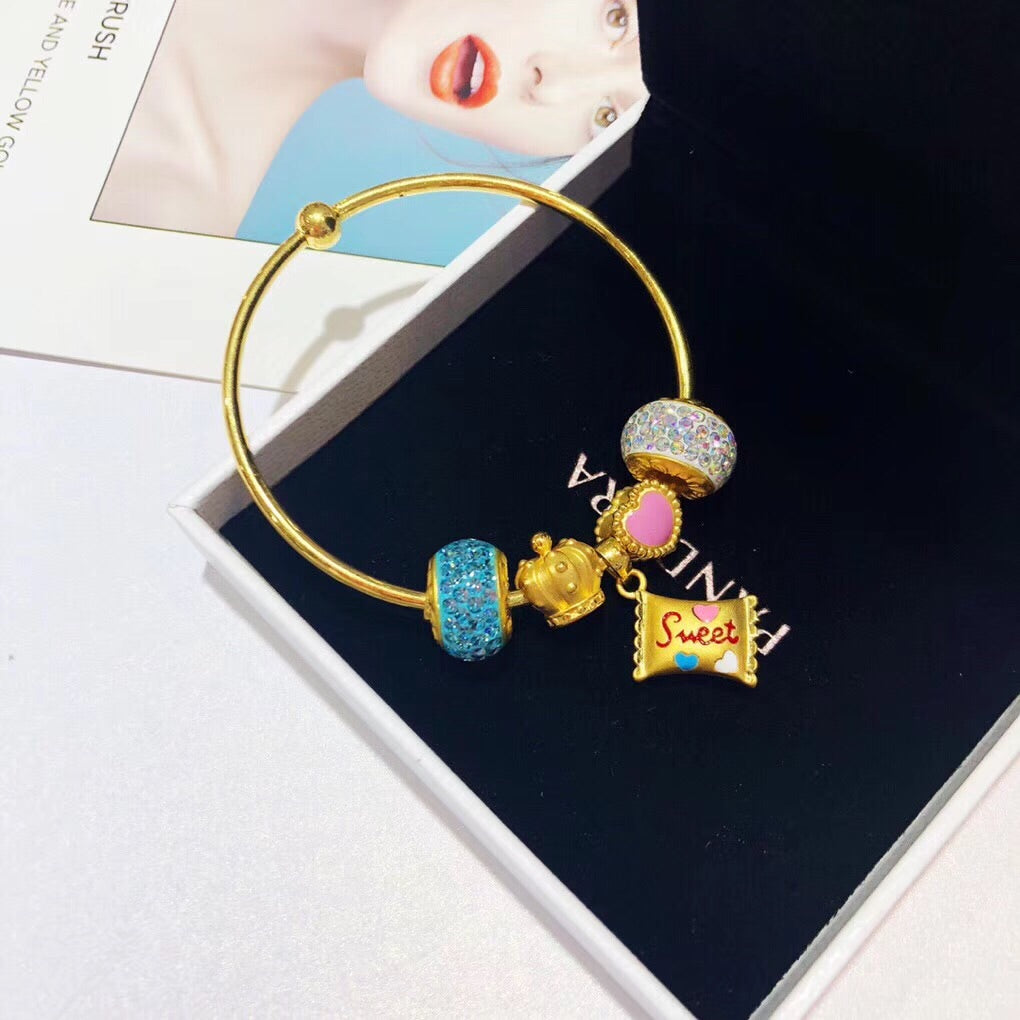 Solid gold sweet candy theme sweet girl charm bracelet