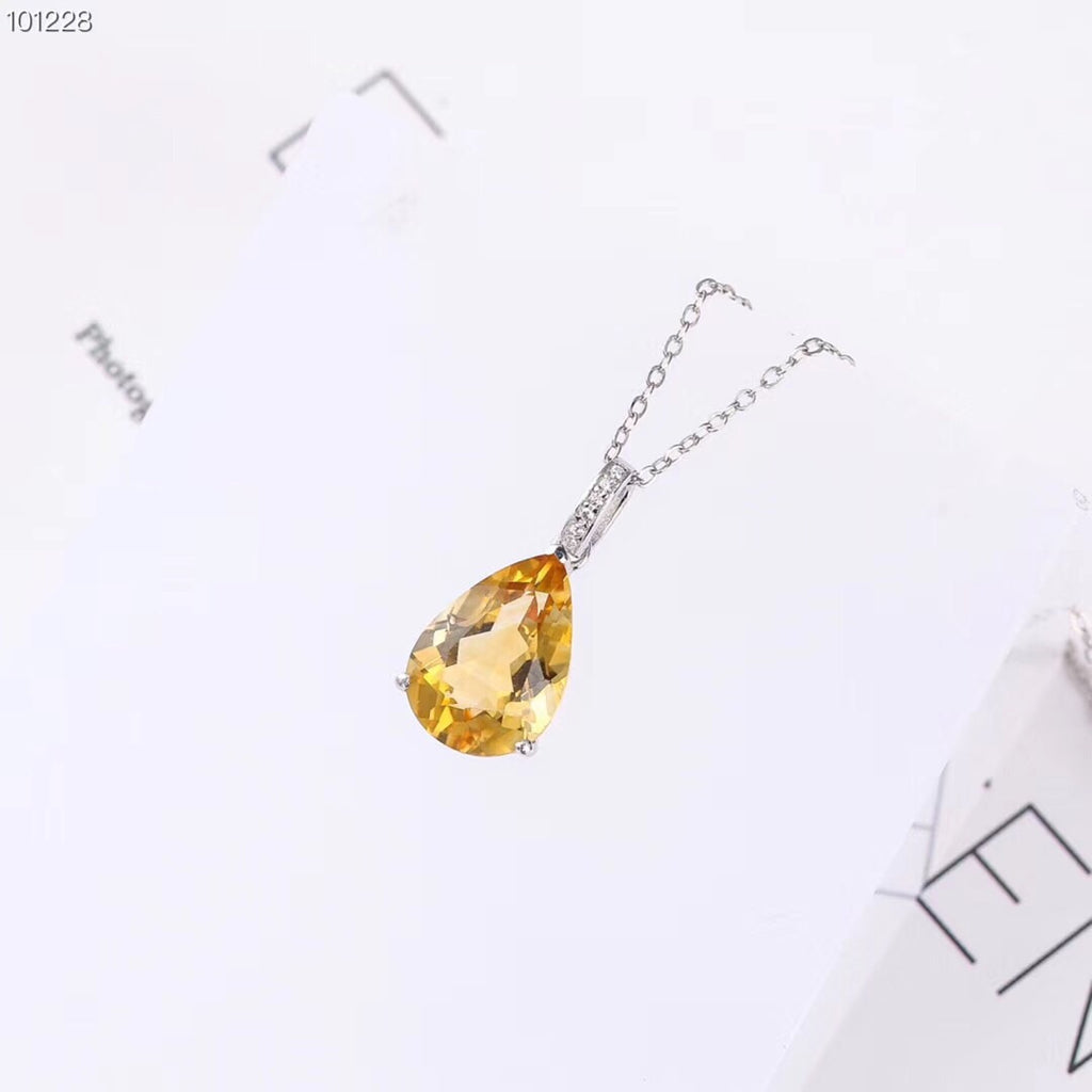 925 sterling silver yellow crystal pendant necklace - Xingjewelry