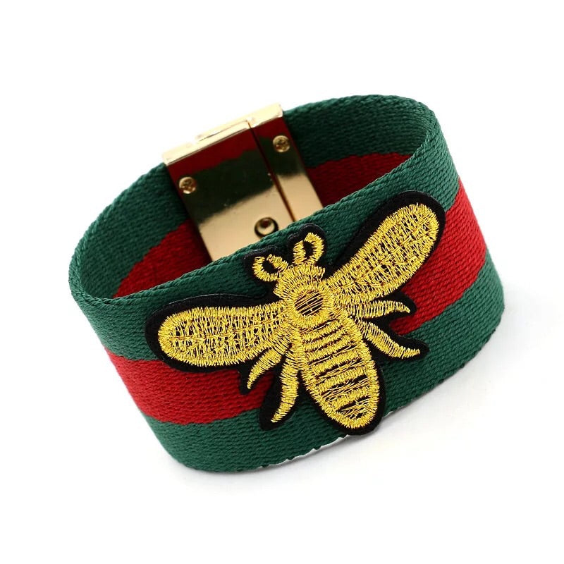 Embroidery honey bee cotton bangle bracelet 2 Color available - Xingjewelry