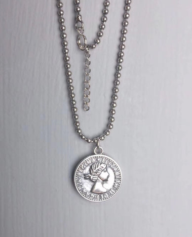 925 sterling silver coin bead queen necklace