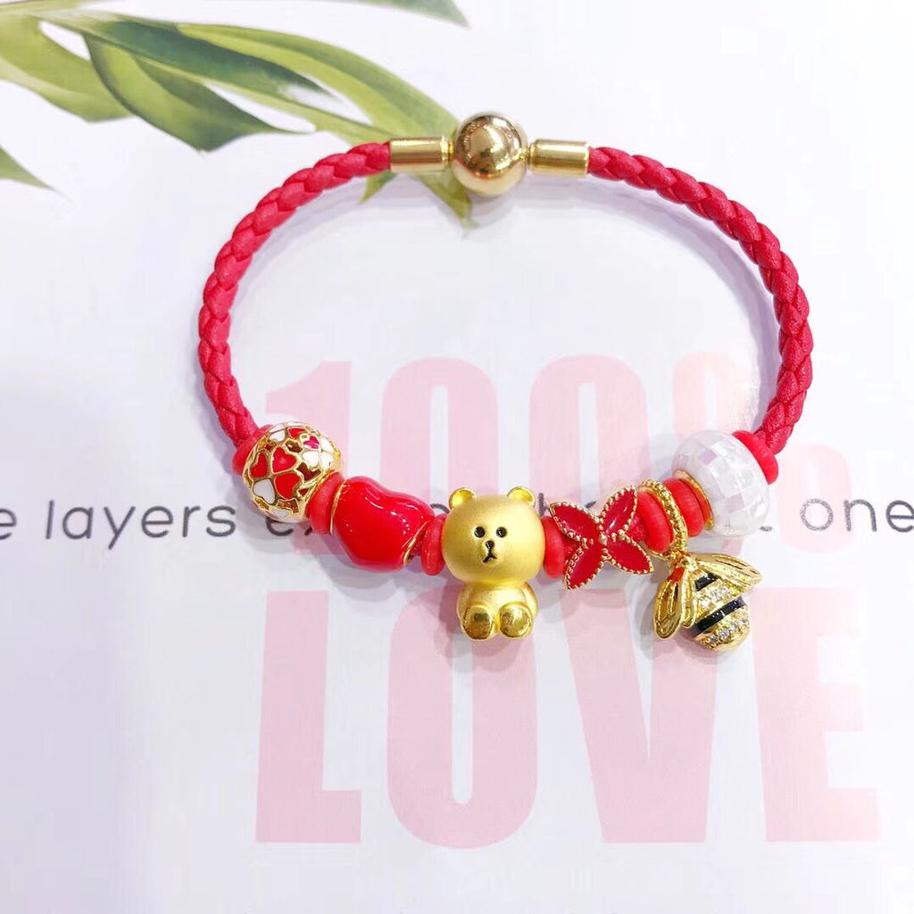 Bear brown 18k solid gold honeybee red charm bracelet - Xingjewelry