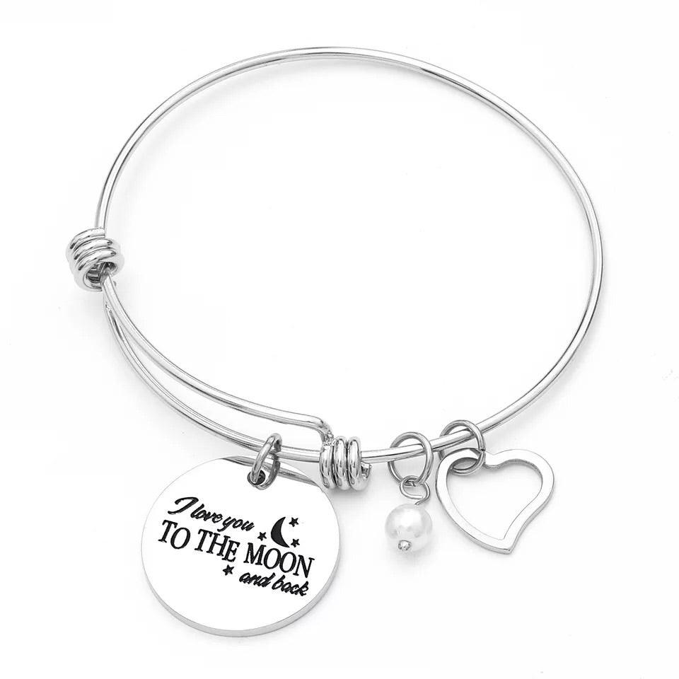 Push bangle bracelet with love you to the moon and back