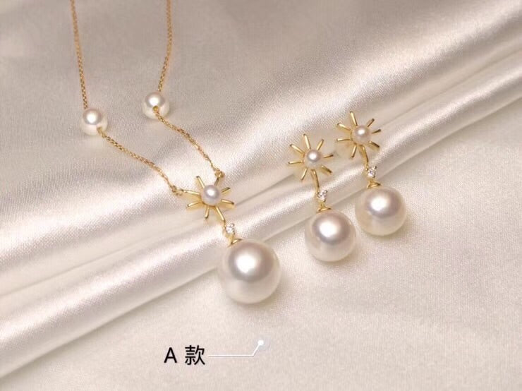 18k gold pearl necklace earring set - Xingjewelry
