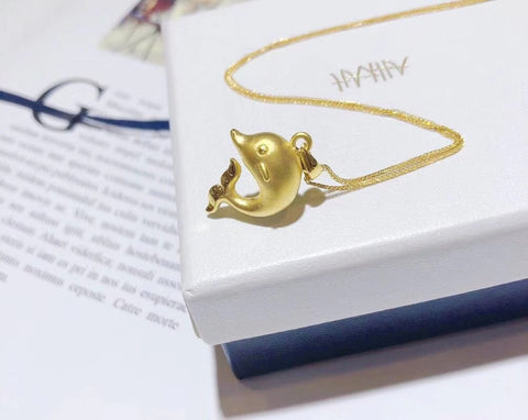 18k solid gold dolphin pendant necklace - Xingjewelry