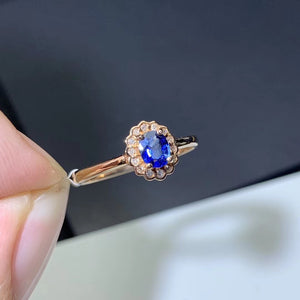18k gold blue sapphire stone ring wedding ring engagement ring - Xingjewelry