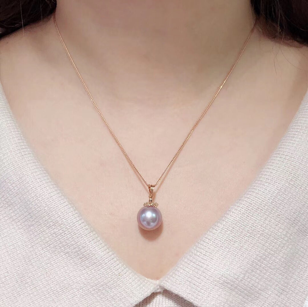 18k gold violet purple pearl pendant necklace - Xingjewelry