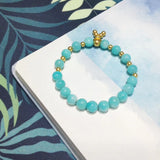 Elastic amazonite gold buckle bracelet
