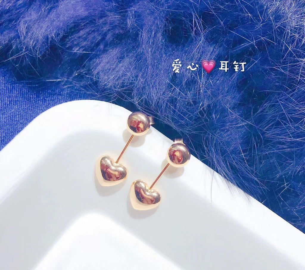 18k gold love earring - Xingjewelry