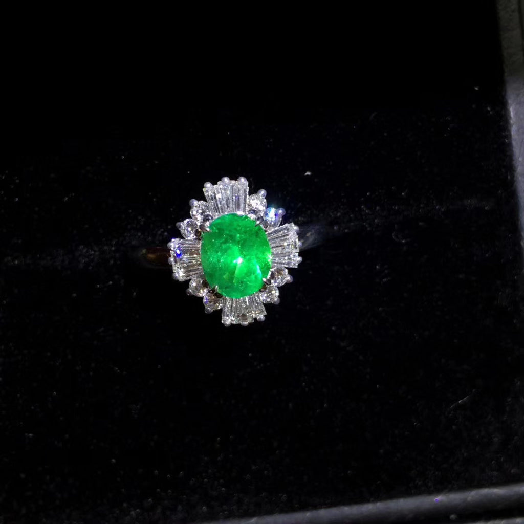 Sterling silver emerald wedding ring