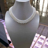 White pearl triple strand necklace