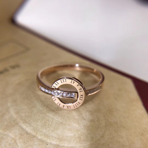 18k gold rose gold Rome alphabet ring - Xingjewelry