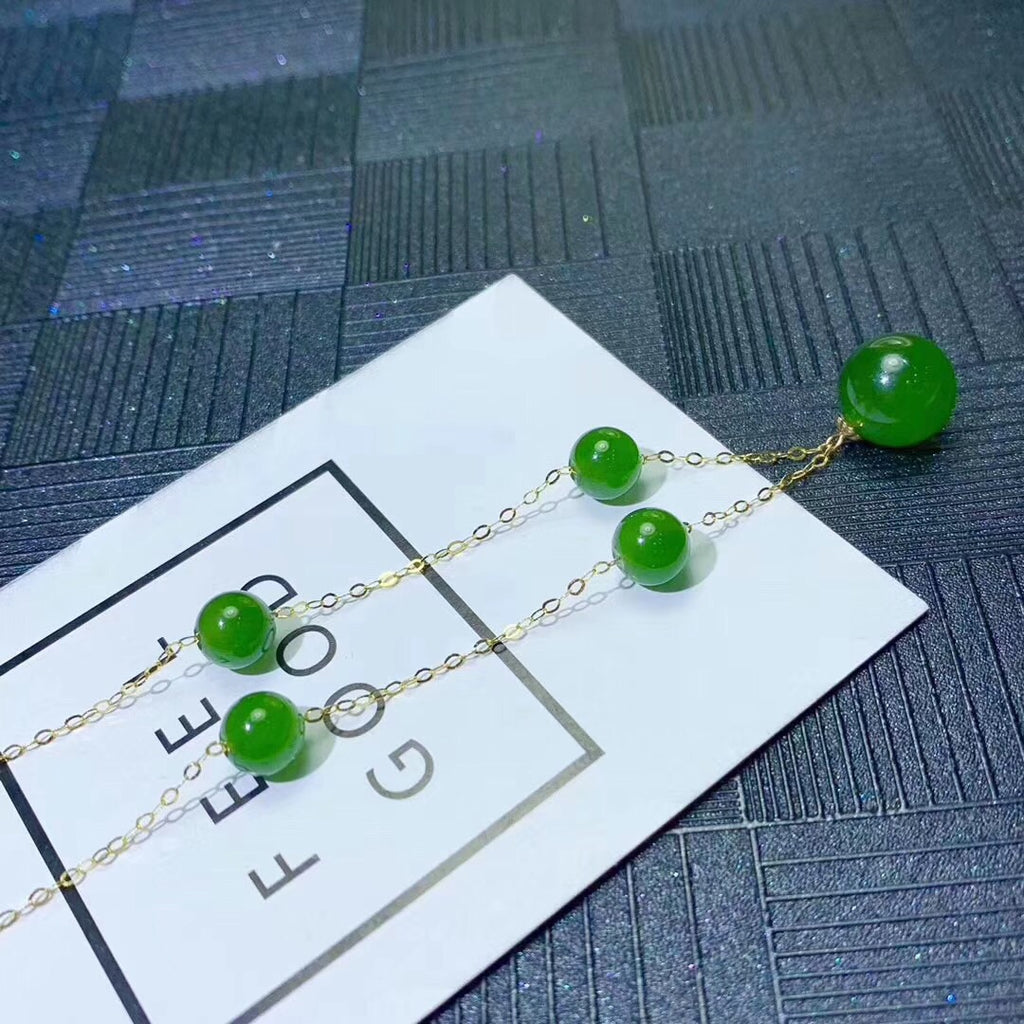 18k gold green jade necklace - Xingjewelry