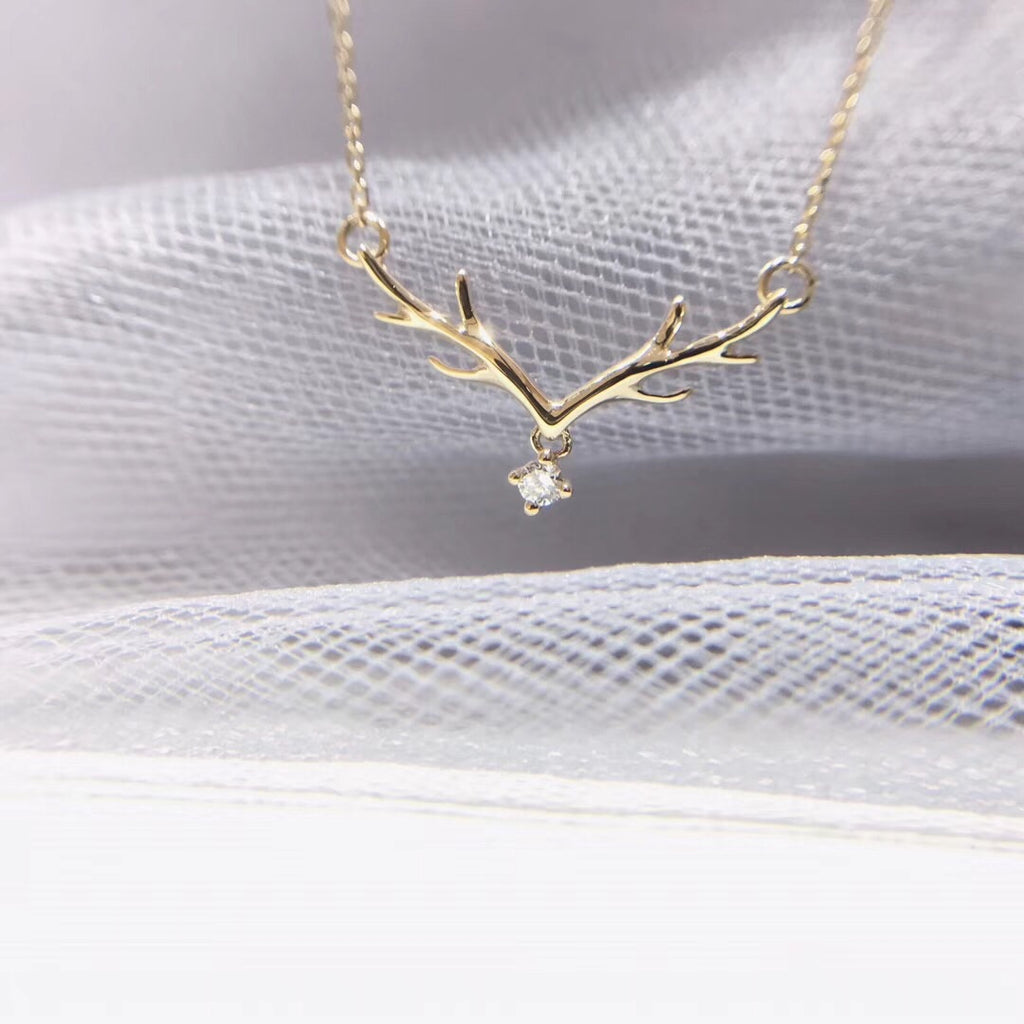 18k gold reindeer diamond pendant necklace - Xingjewelry
