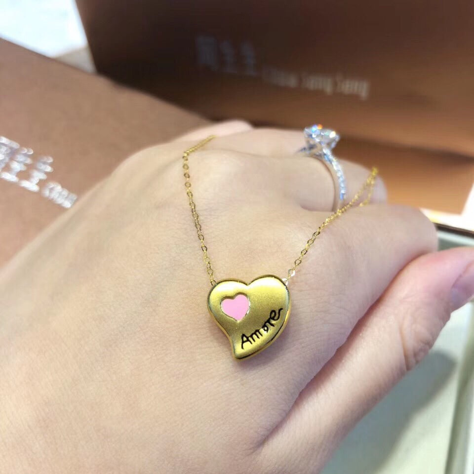 18k gold love amore love heart pendant necklace - Xingjewelry