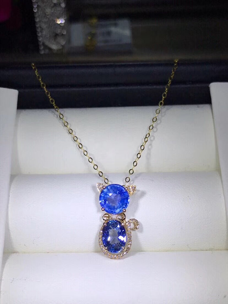 18k white gold blue sapphire diamond pendant necklace - Xingjewelry