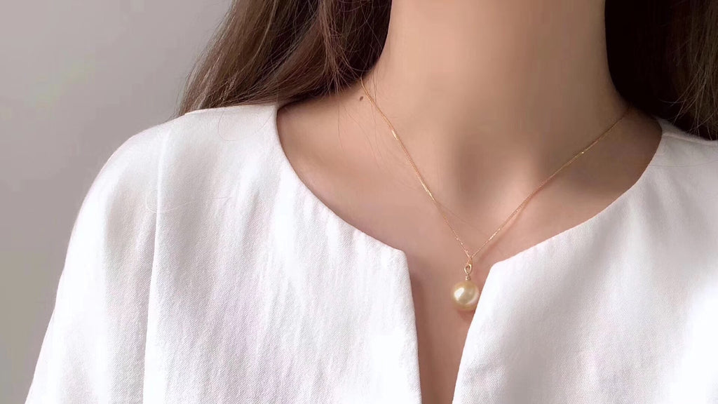 18k gold golden pearl pendant necklace - Xingjewelry