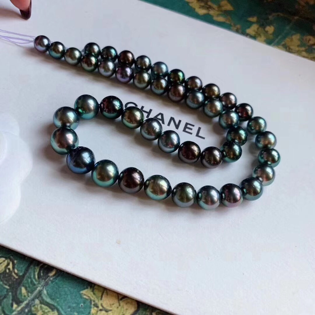 Mikimoto Peacock green Tahitian pearl necklace