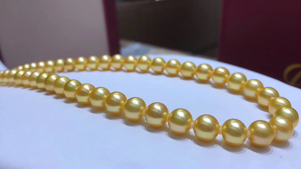 7-8mm golden pearl akoya necklace
