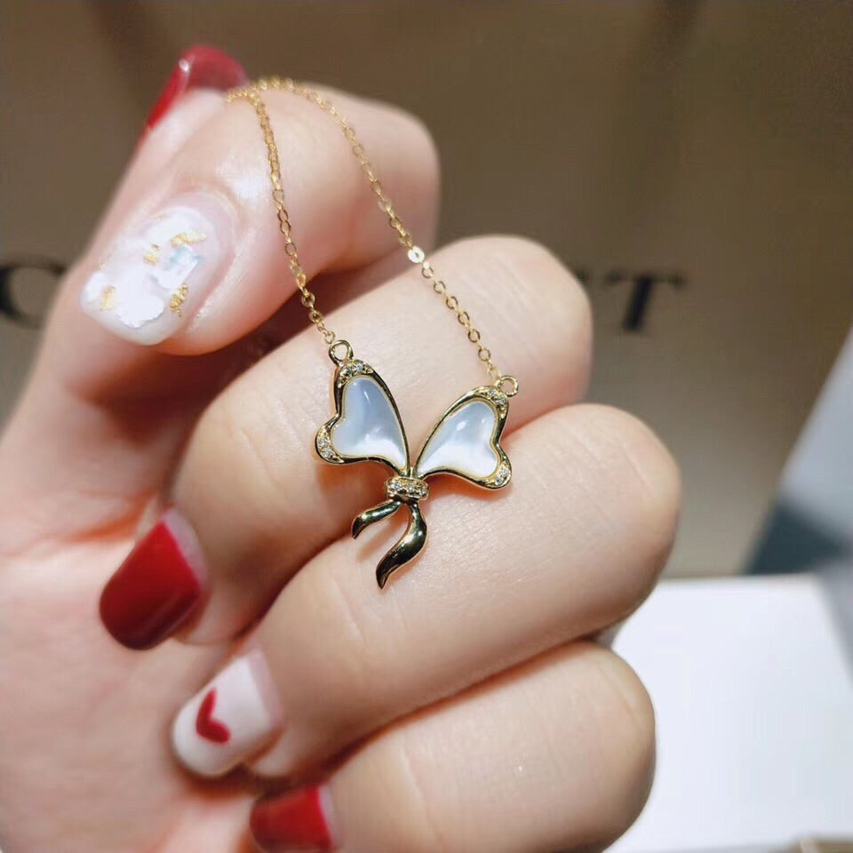 18k gold opal butterfly necklace - Xingjewelry