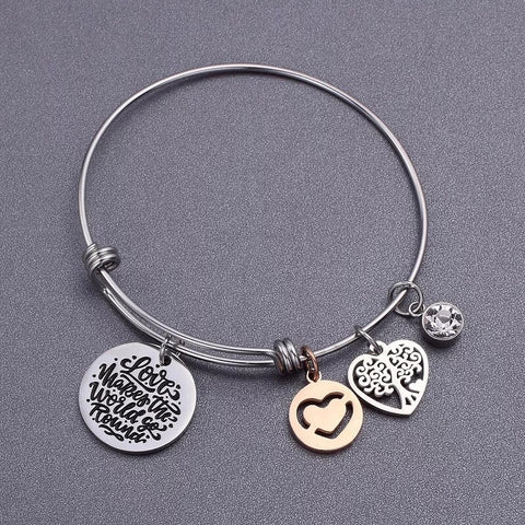 Push bangle bracelet with love heart tree pendant