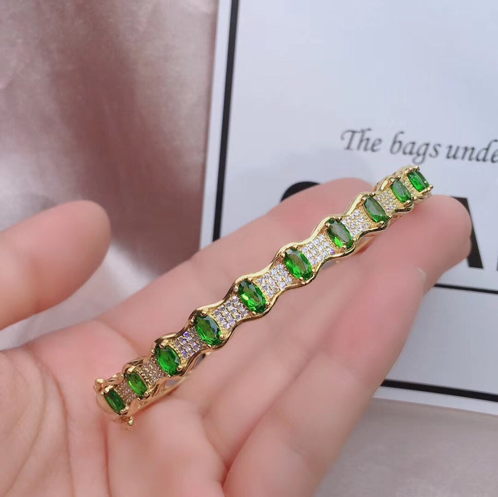 Gold plate silver emerald stone bangle