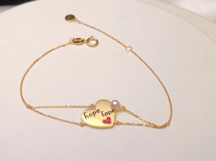18k gold heart forever hope beaded bracelet - Xingjewelry