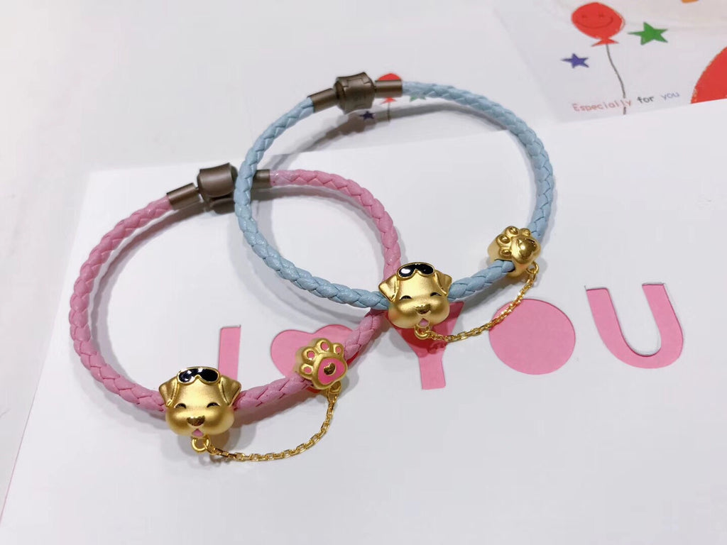 cute dog 18k gold leather bracelet - Xingjewelry