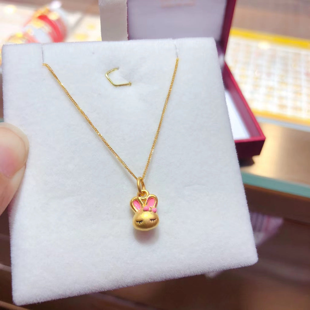 18k gold bunny pendant necklace