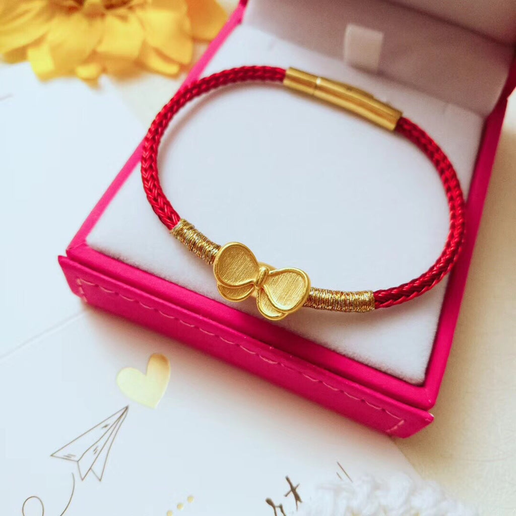 18k gold tie leather bracelet - Xingjewelry