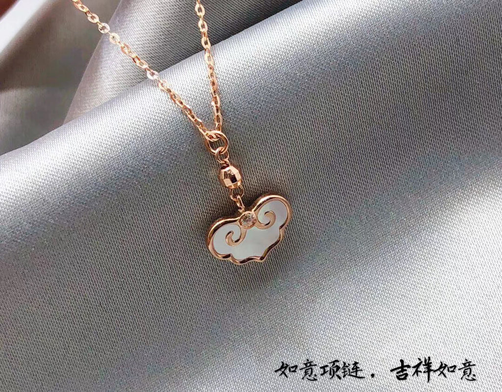 18k gold cloud enamel pendant necklace
