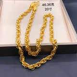 999 solid gold simple necklace - Xingjewelry