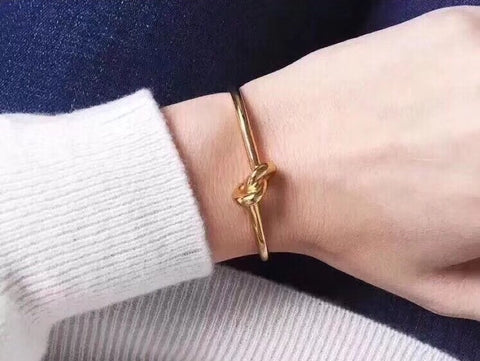 Gold plate knot bangle bracelet - Xingjewelry