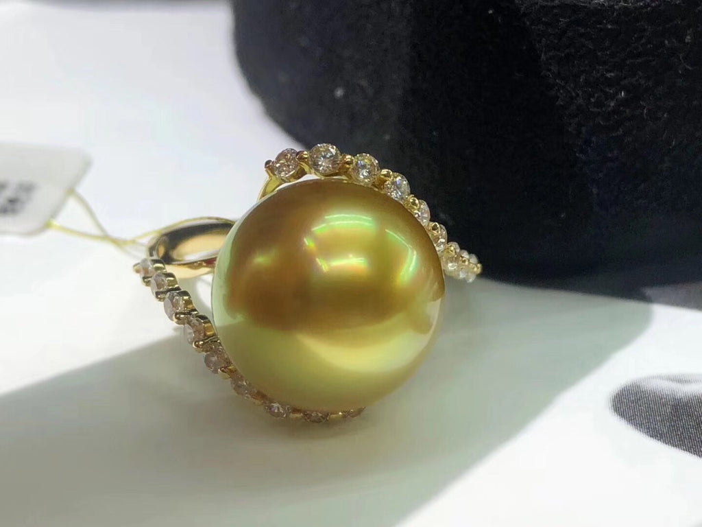 18k gold diamond south sea golden pearl ring - Xingjewelry