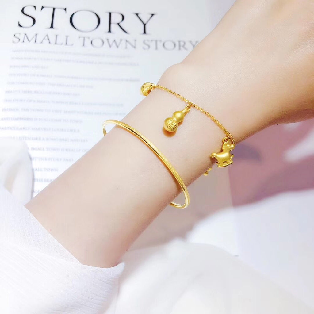 Solid gold charm bracelet for kids children