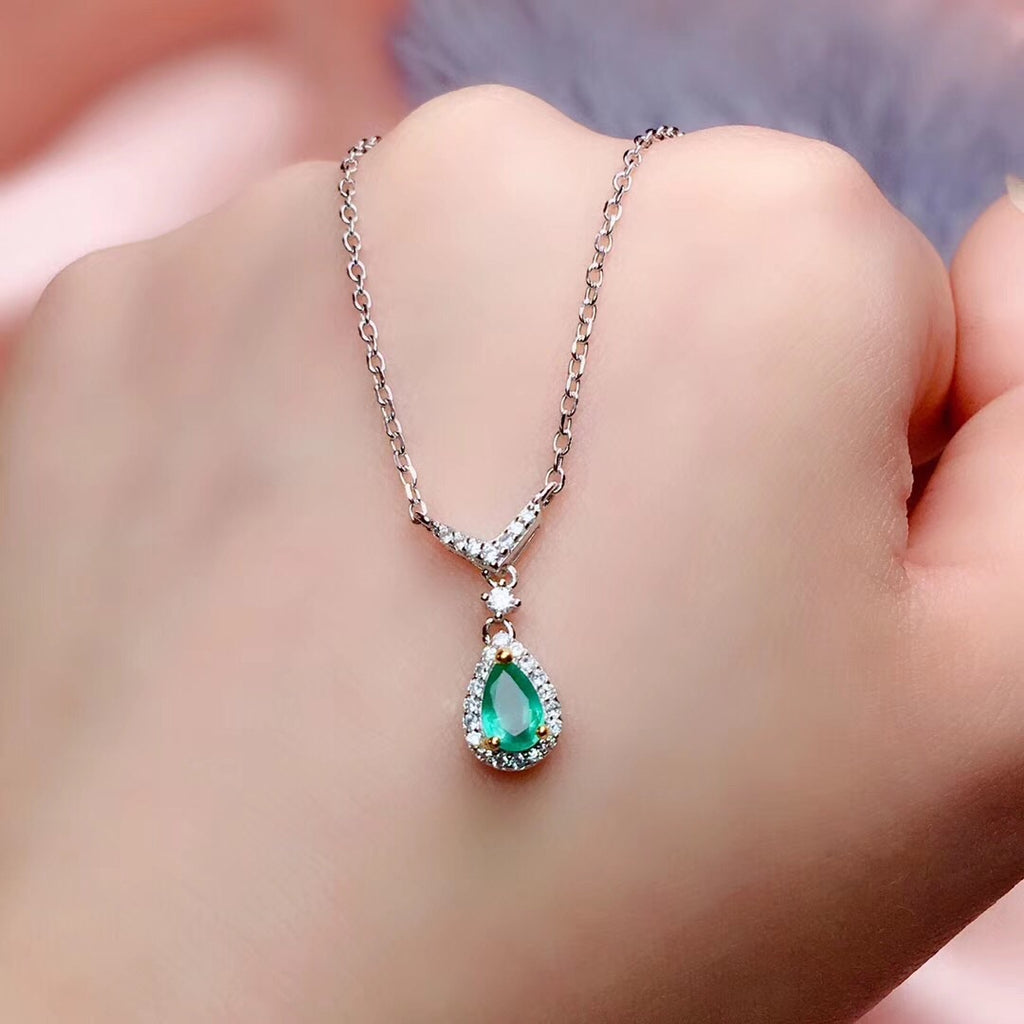 925 sterling silver emerald necklace