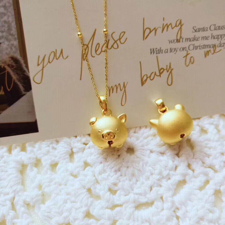 18k gold pig pendant necklace - Xingjewelry