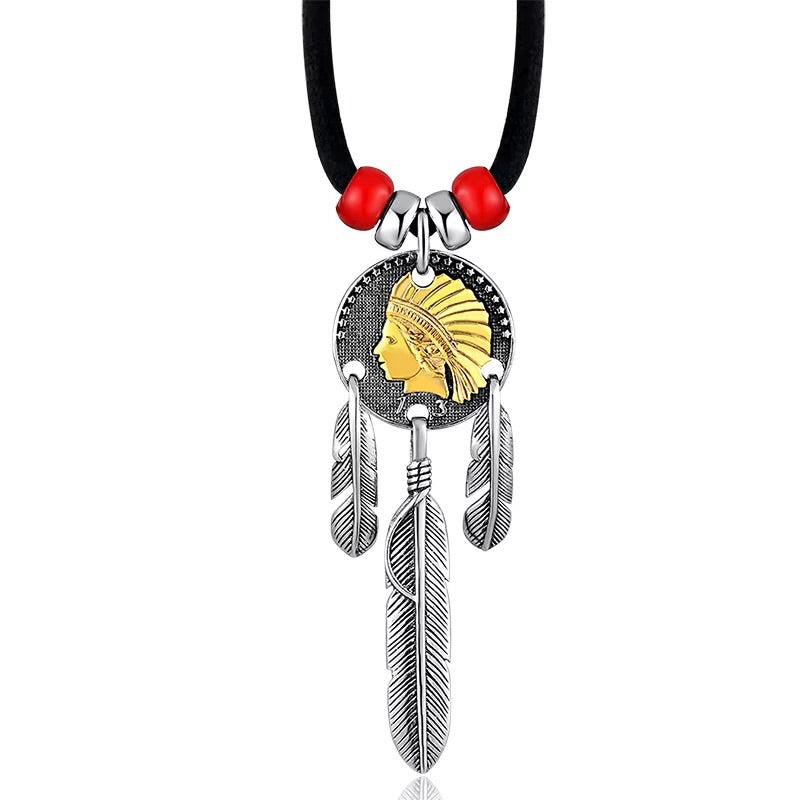 Indian chief dream catcher pendant necklace