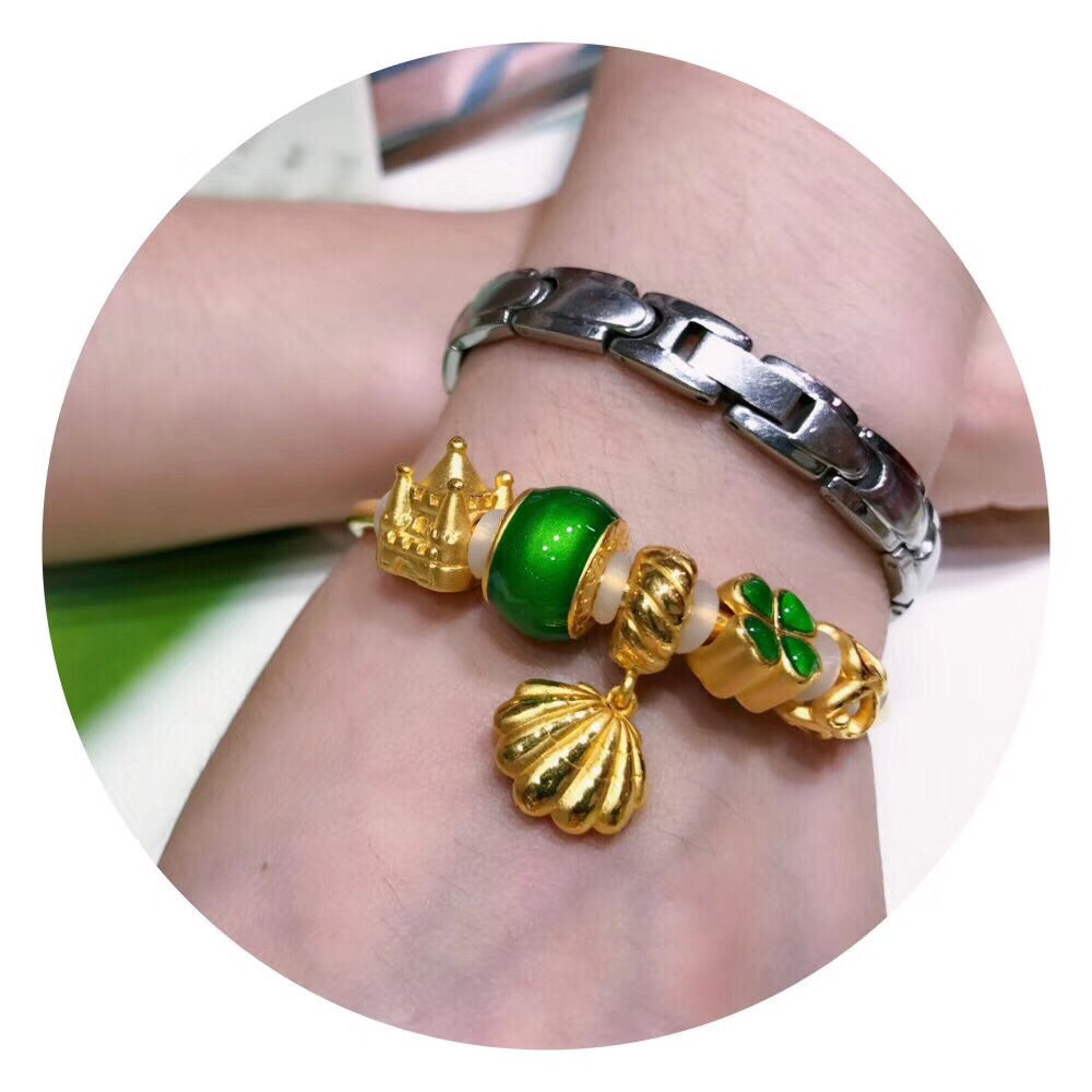 18k solid gold elf girl shell green theme charm bangle bracelet - Xingjewelry