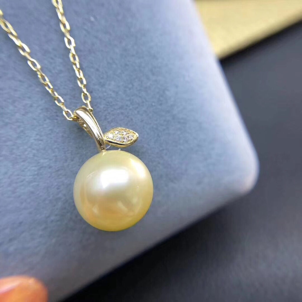 18k gold south sea golden pearl bead pendant necklace - Xingjewelry
