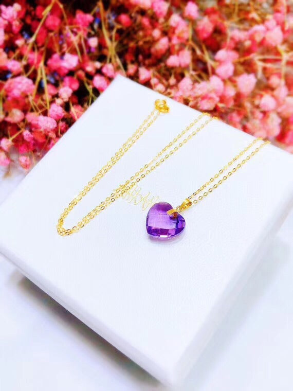 18k gold Purple Heart crystal pendant necklace - Xingjewelry