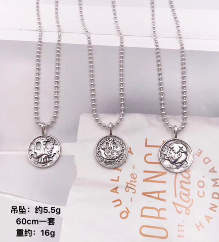 925 sterling silver coin pendant necklace