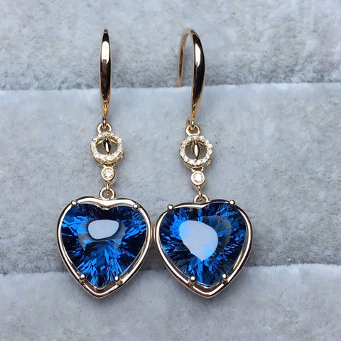 18k gold blue topaz diamond earring - Xingjewelry