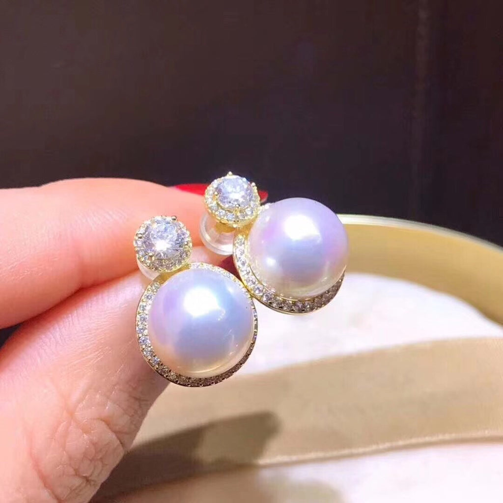 S925 sterling silver diamond pearl earring