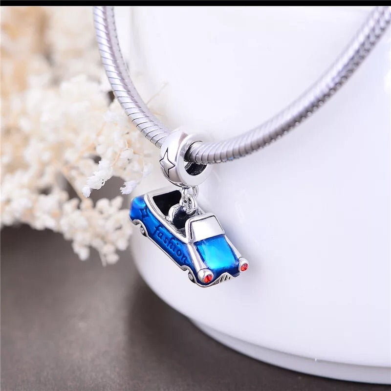 925 sterling silver blue car charm pendant - Xingjewelry