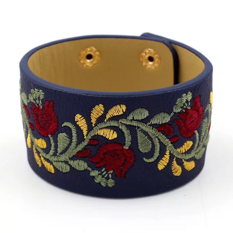 PU flower bangle bracelet - Xingjewelry