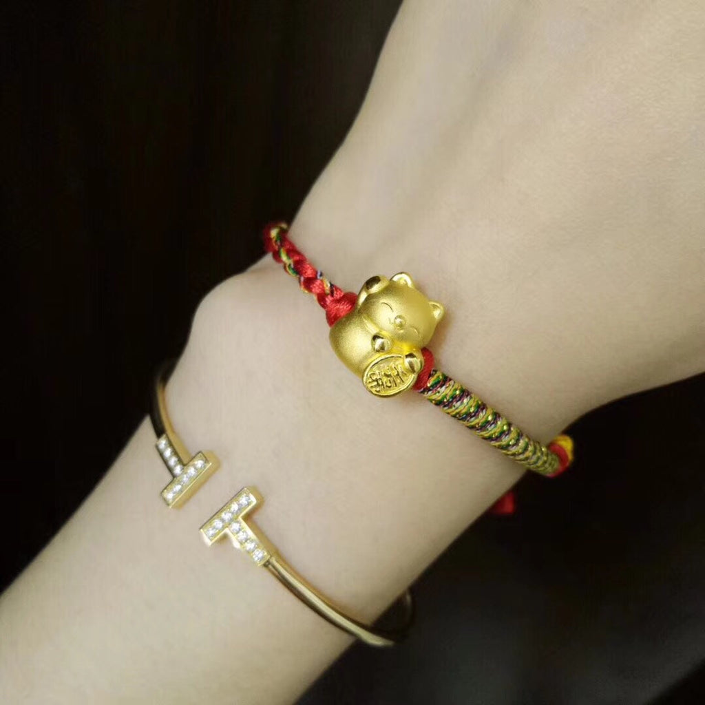 18k gold fortune kitty red bracelet - Xingjewelry