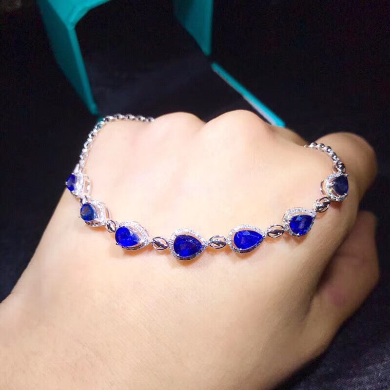 18k white gold blue sapphire stone diamond necklace - Xingjewelry